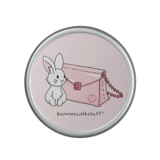 Bunny with a pink purse bluetooth speaker