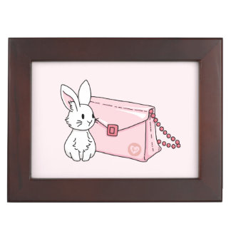 Bunny with a pink purse keepsake box