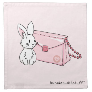 Bunny with a pink purse napkin
