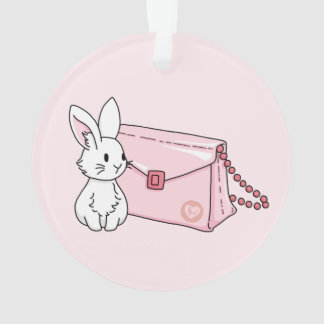 Bunny with a pink purse ornament