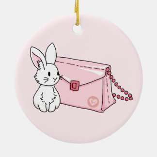 Bunny with a pink purse round ceramic decoration