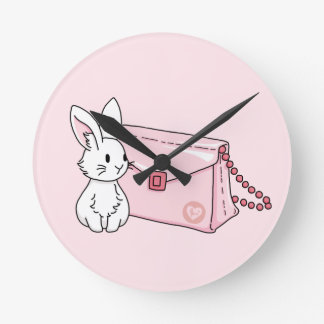 Bunny with a pink purse round clock