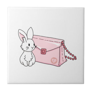 Bunny with a pink purse tile