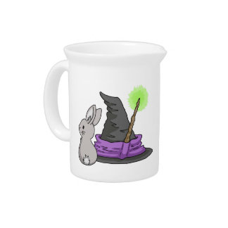Bunny with a witch's hat pitchers