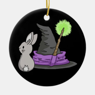 Bunny with a witch's hat round ceramic decoration