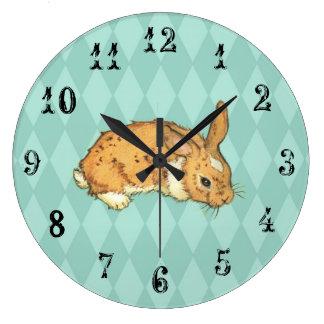 Bunny with aqua blue diamond background large clock