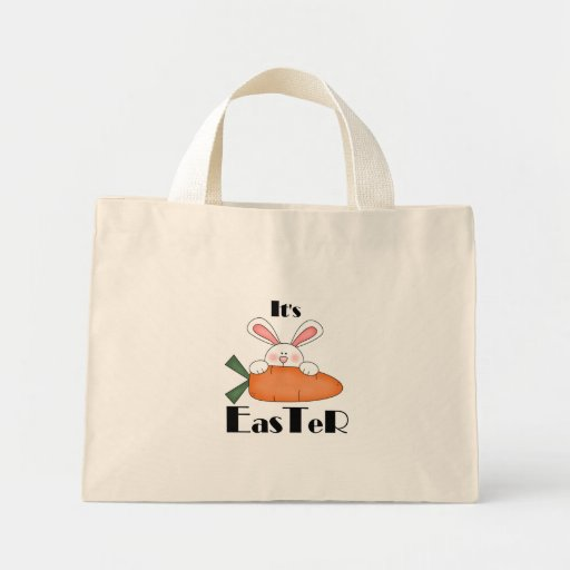 Bunny With Carrot Easter Tshirts and Gifts Tote Bags
