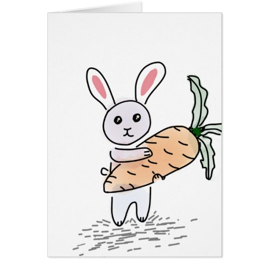 Bunny With Carrot Greeting Card
