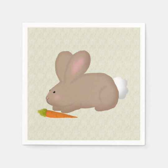 Bunny With Carrot Paper Napkin