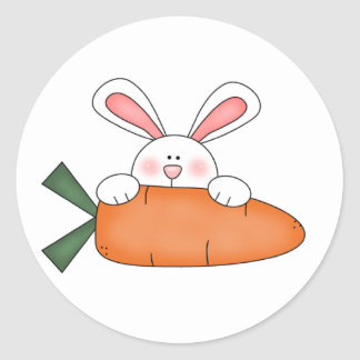 Bunny With Carrot Tshirts and Gifts Round Sticker
