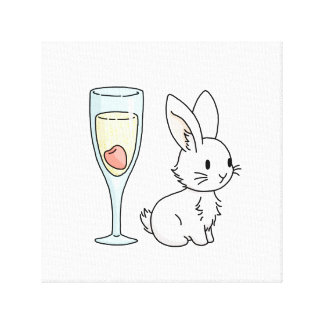 Bunny with Champagne Canvas Print
