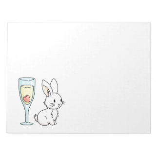 Bunny with Champagne Notepad