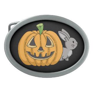 Bunny with Jack O Lantern Oval Belt Buckle