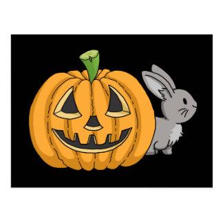 Bunny with Jack O Lantern Postcard