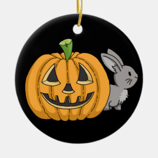 Bunny with Jack O Lantern Round Ceramic Decoration