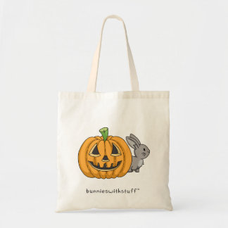 Bunny with Jack O Lantern Tote Bag