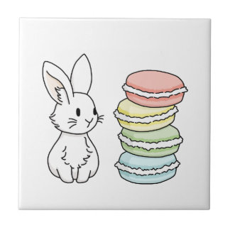Bunny with Macaroons Tile