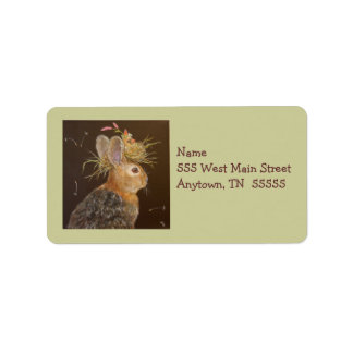 Bunny with nesting cardinal address label