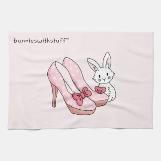 Bunny with pink shoes tea towel