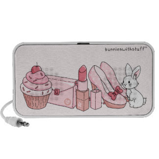 Bunny with pink stuff portable speakers