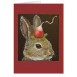 bunny with radish hat card