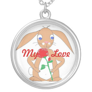Bunny with Red Rose Pendants