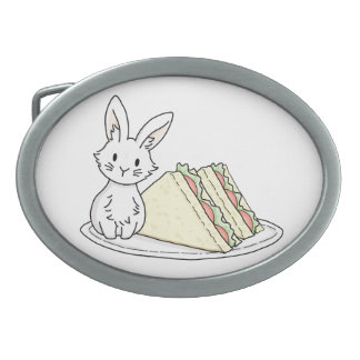 Bunny with Sandwiches Belt Buckle