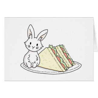 Bunny with Sandwiches Greeting Card