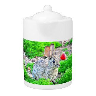 Bunny with Strawberry Tea Pot