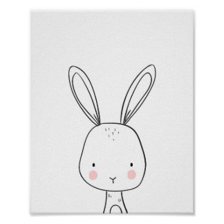Bunny Woodland Animal Nursery art Black and white Poster