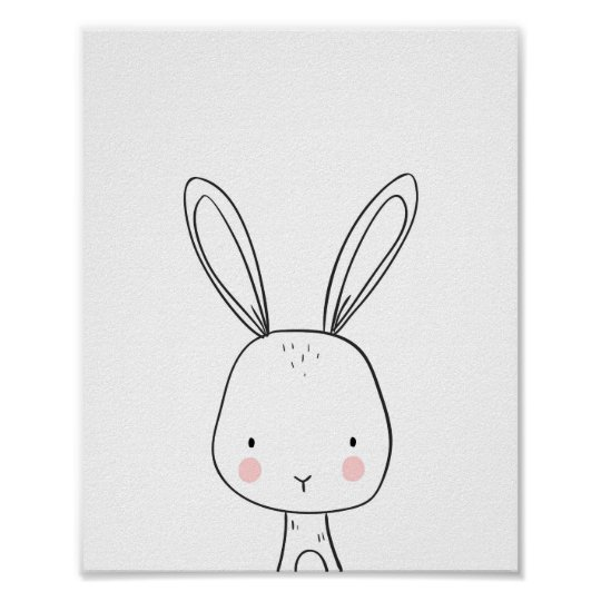 Bunny Woodland Animal Nursery art Black and white