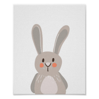 Bunny Woodland Animal Nursery Wall Art Print