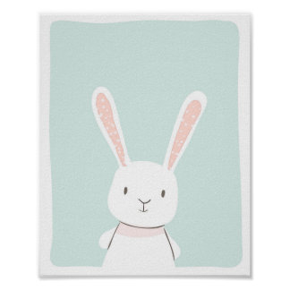 Bunny Woodland Animal Nursery Wall Art Print Mint