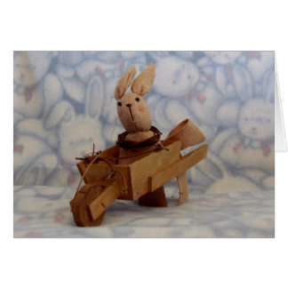 Bunny's Wooden Cart Easter Card
