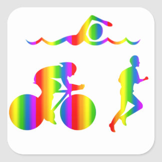 Bunter Triathlon Regenbogen Sticker