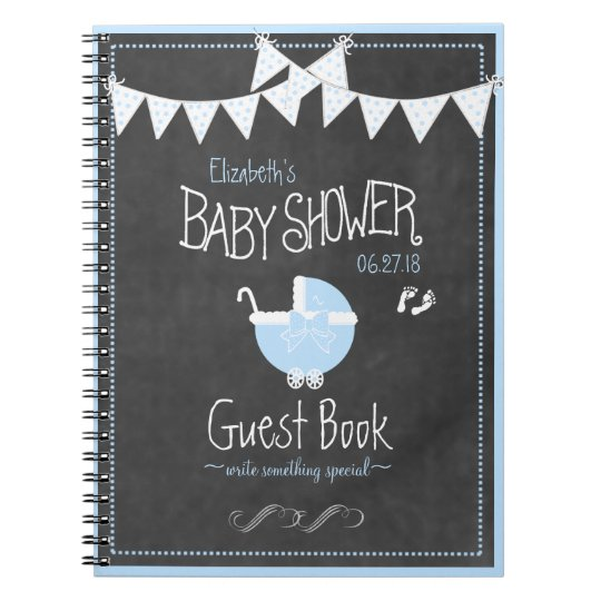 Bunting and Carriage Blue Baby Shower Guest Book