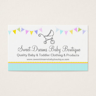 Bunting baby boutique mint aqua swing hang tag business card