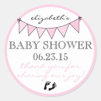 Bunting-Baby Shower Thank You Round Sticker