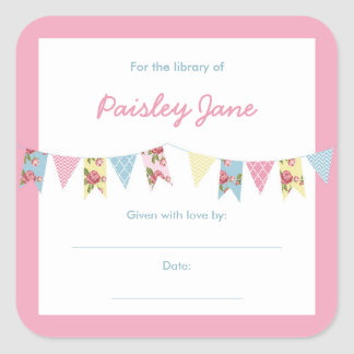 Bunting Banner Girl Baby Shower Bookplates Square Sticker