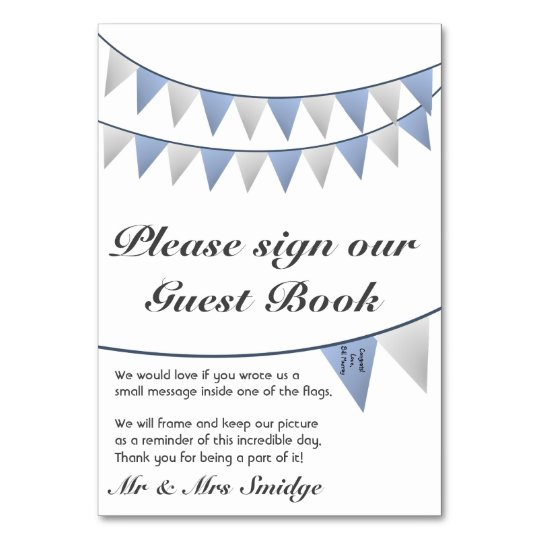 Bunting Blue Wedding Guest Book Sign Card