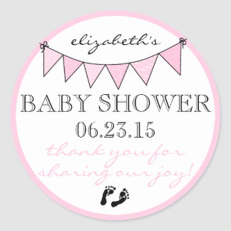 Bunting Flags Pretty Pink Baby Shower Thank You Classic Round Sticker