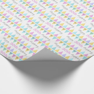 Bunting flags white birthday age 30 patterned wrap wrapping paper