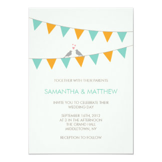 Bunting Love Birds Wedding Invitation Blue Orange