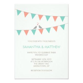 Bunting Love Birds Wedding Invitation - Blue Pink