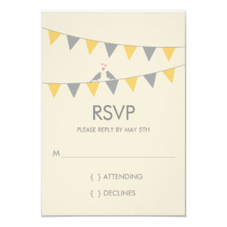 Bunting Love Birds Wedding RSVP - Grey Yellow 9 Cm X 13 Cm Invitation Card