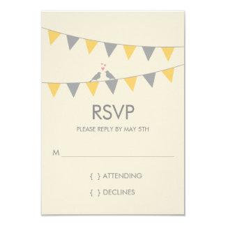 Bunting Love Birds Wedding RSVP - Grey Yellow Card