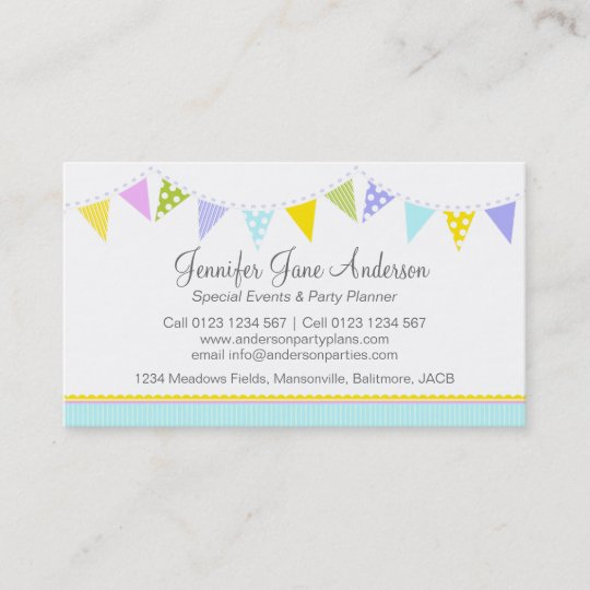 Bunting Party Events Planning Business Cards Zazzle