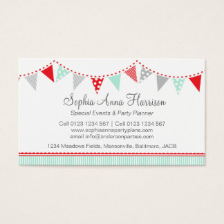 Bunting party events planning business cards