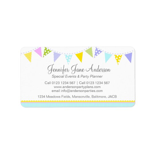 Bunting party events planning return address label