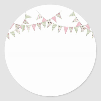 Bunting - Pink & Green Classic Round Sticker